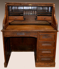 18223 Oak Raised Panel Roll Top Desk