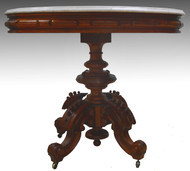 18226 Thomas Brooks Marble Top Heavy Carved Table