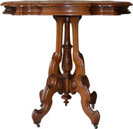 2942 Victorian Carved Walnut Turtle Top Stand