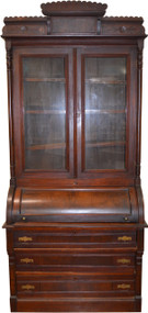 18233 Victorian Walnut Cylinder Secretary with Burl Pillars