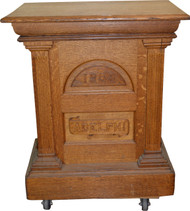 SOLD Oak Carved Raised Panel Lectern