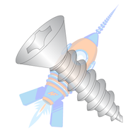 1/4-14 x 2 Phillips Flat Self Tapping Screw Type A B Fully Threaded 18-8 Stainless Steel