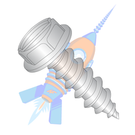 1/4-14 x 1-1/2 Slot Ind Hex Wash Self Tapping Screw Type A B Fully Threaded 18 8 Stainless Ste