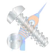 4-24 x 1/4 #3HD Pozi Drive Pan High Low Screw Type 1 A Recess Full Thread Zinc &