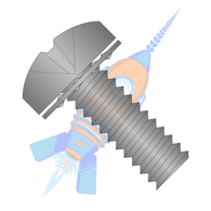 1/4-20 x 1/2 Phillips Pan Internal Sems Machine Screw Fully Threaded Black Zinc