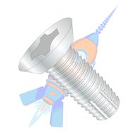 1/4-20 x 1 Phillips Flat Undercut Thread Cutting Screw Type F Fully Threaded Zinc