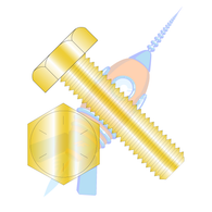 1-14 x 4 Hex Tap Bolt Grade 8 Fully Threaded Zinc Yellow