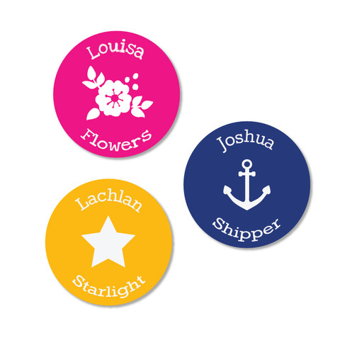 Round Stick On labels for labelling all your kids' school and sports things with their name