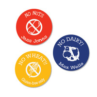 Round Allergy Stick On Labels for allergy warnings and important health information