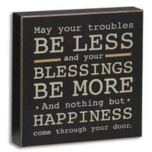 Blessings and Happiness Wooden Sign