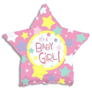 It's a Baby Girl Balloon with Stars