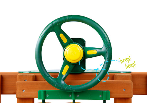 Front view of Rally Racing Wheel with working horn from Gorilla Playsets.