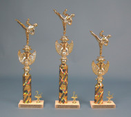 Set of 3 (1st/2nd/3rd) Trophies with Plastic Kick Figurine, Eagle and Stone Base