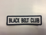 Black Belt Club Patch - Straight (White background with black letters)