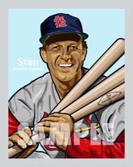 Digital Illustration of Stan Musial - one of the All-Time Great Diamond Legends of baseball