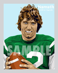 Digital Illustration of Joe Namath – Hall of Famer and one of the All-Time great Gridiron Legends of baseball!