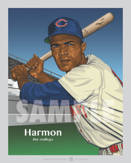 Digital illustration of one of Cincinnati's All-Time Reds Greats and was the first ever black player for Cincinnati, Outfielder Chuck Harmon!