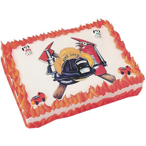 Fireman Cakes<br>Fire Department<br>Edible Do-It-Yourself<br>Cake Art Image<br>Sugars sold separately