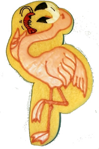 Flamingo eating a shrimp cookie