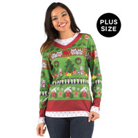 Ladies Ugly Christmas Plus Sweater with Cats