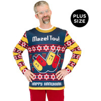 Mazel Tov Ugly Hanukkah Adult Plus Sweater
