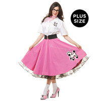 Complete Poodle Skirt Outfit (Pink & White) Adult Plus Costume