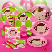 Pink Mod Monkey 1st Birthday Standard Party Pack