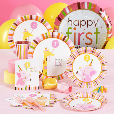 Sweet safari pink 1st birthday standard pack for 8 for 1st birthday decoration packs