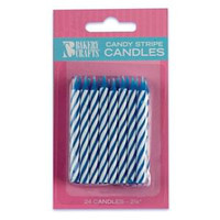 "2.5"" Candy Stripe Candle Blue"