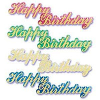 Large Happy Birthday Script Jewel +AC0- 4 Assorted Colors