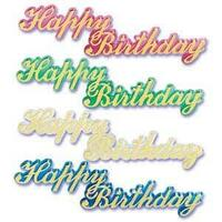 Large Happy Birthday Script Jewel - 4 Assorted Colors