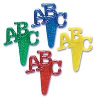 ABC Glitter Puffy Cupcake Picks
