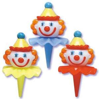 3D Clown Head Cupcake Picks - Assorted Styles