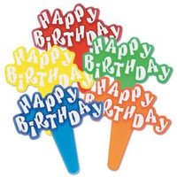 Happy Birthday Cupcake Picks - Style 1