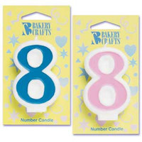 Blue Number 8 Candle
