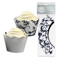Black & White Cupcake Wrappers with Reversible Design