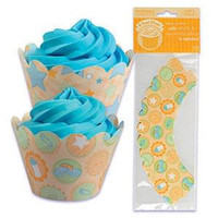 Baby Icons Cupcake Wrappers with Reversible Design