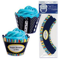 Happy Birthday Cupcake Wrappers with Reversible Design
