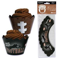 Football Cupcake Wrappers with Reversible Design