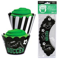 Soccer Cupcake Wrappers with Reversible Design