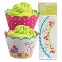 Easter Cupcake Wrappers with Reversible Design