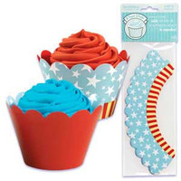 Patriotic Cupcake Wrappers with Reversible Design