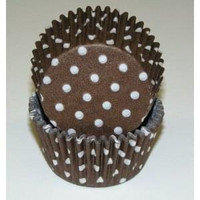 Standard Size Brown with White Polka Dot Baking Cups