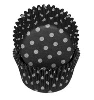 Standard Size Black with White Polka Dot Baking Cups