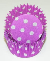 Standard Size Purple with White Polka Dot Baking Cups