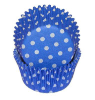 Standard Size Blue with White Polka Dot Baking Cups