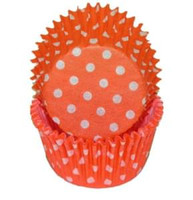 Standard Size Orange with White Polka Dot Baking Cups