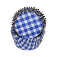 Standard Size Blue Gingham Baking Cups