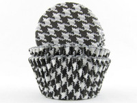 Standard Size Black Houndstooth Baking Cups
