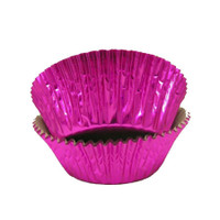 Standard Size Hot Pink Foil Baking Cups